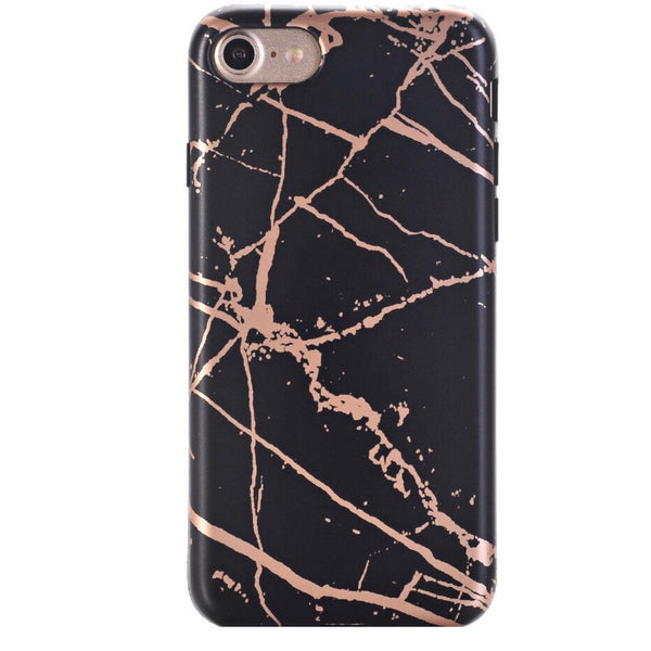 Black and Rose Chrome Marble Phone Case IPHONE 7 - CASES A LA MODE