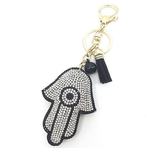 Black and Silver Hamsa Keychain  - CASES A LA MODE
