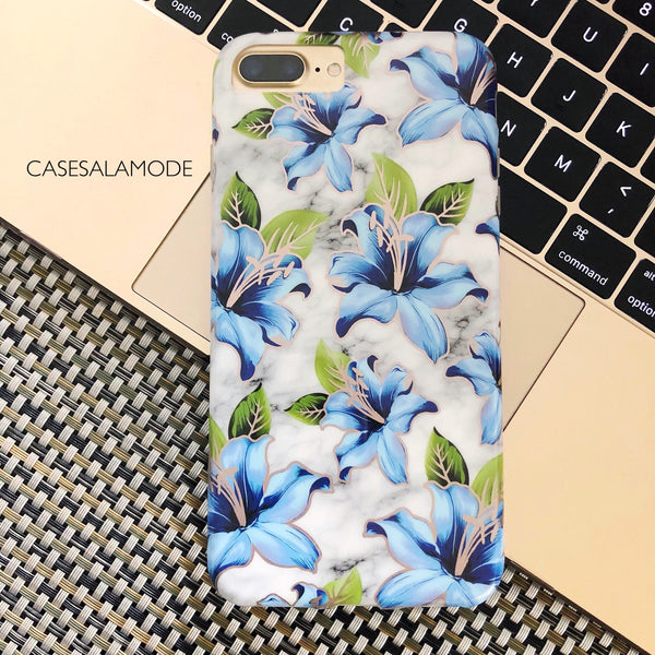 Blue Floral Marble iPhone Case  - CASES A LA MODE