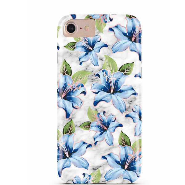 Blue Floral Marble iPhone Case IPHONE 6/S - CASES A LA MODE