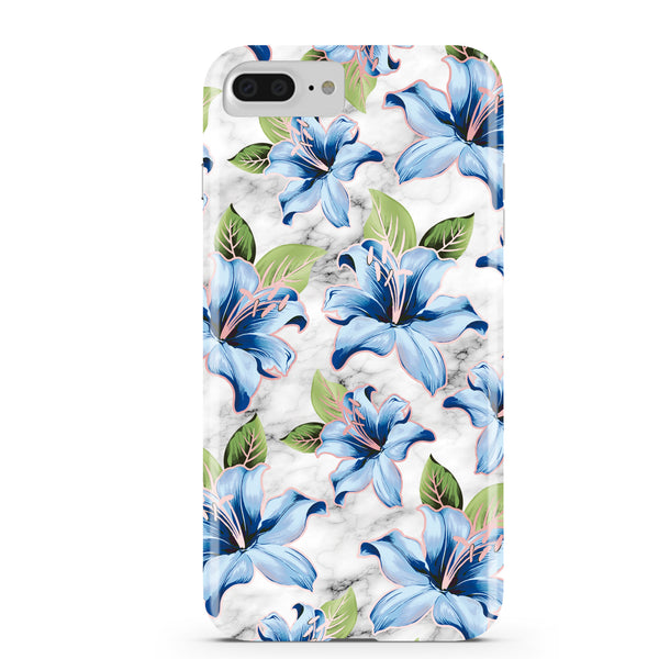 Blue Floral Marble iPhone Case IPHONE 6/S PLUS - CASES A LA MODE