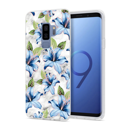 Blue Floral Marble Samsung Phone Case GALAXY S9 - CASES A LA MODE