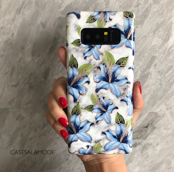 Blue Floral Marble Samsung Phone Case  - CASES A LA MODE