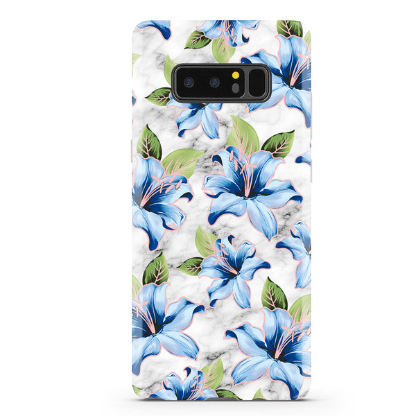 Blue Floral Marble Samsung Phone Case NOTE 8 - CASES A LA MODE