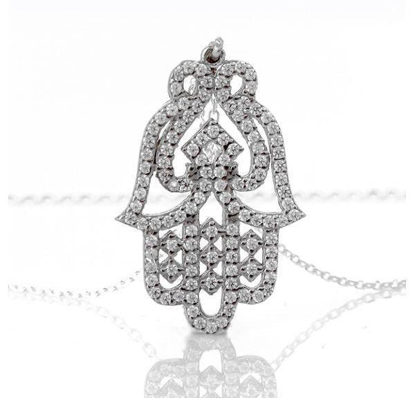 Silver Hamsa Necklace  - CASES A LA MODE