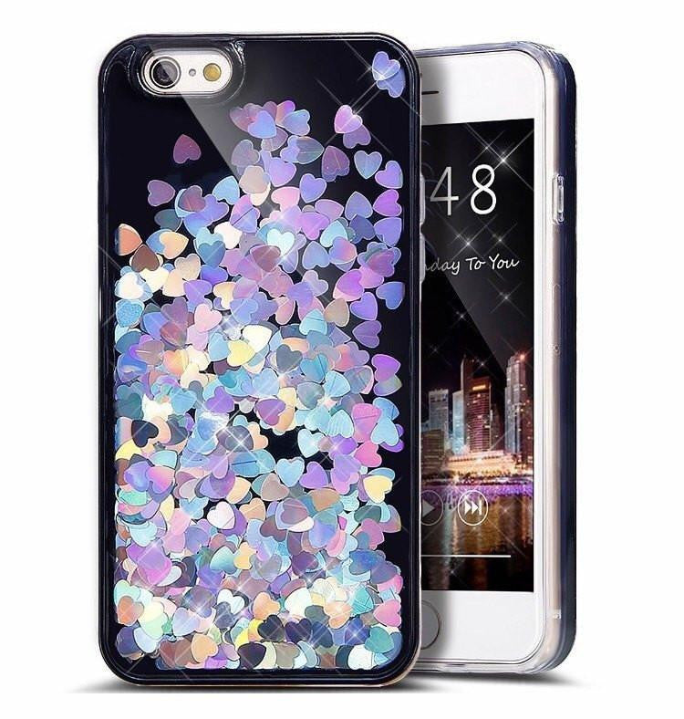 holographic hearts iphone case in black and hearts