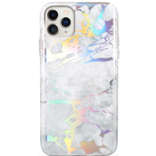 White Holo Marble iPhone Case  - CASES A LA MODE
