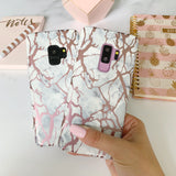 White Marble Rose Gold Pink Samsung Case  - CASES A LA MODE