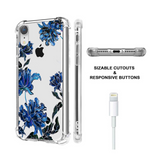 Blue Floral Clear iPhone XR Case  - CASES A LA MODE