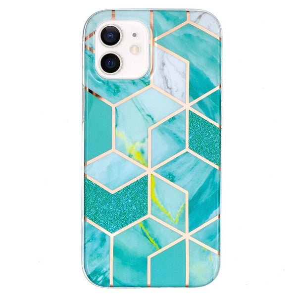 Turquoise Geometric Marble iPhone Case  - CASES A LA MODE