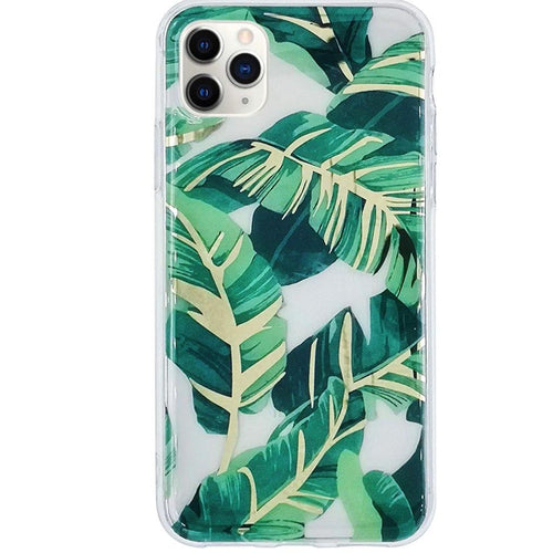 Green Leaves Gold Chrome iPhone Case  - CASES A LA MODE