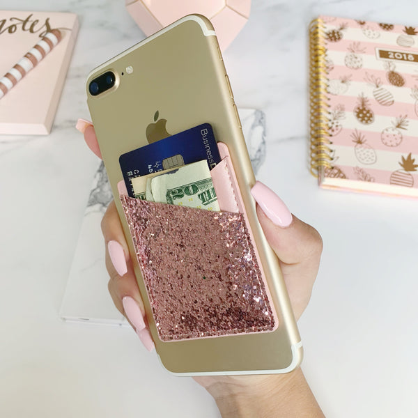 Rose Gold Glitter Glam Pocket  - CASES A LA MODE