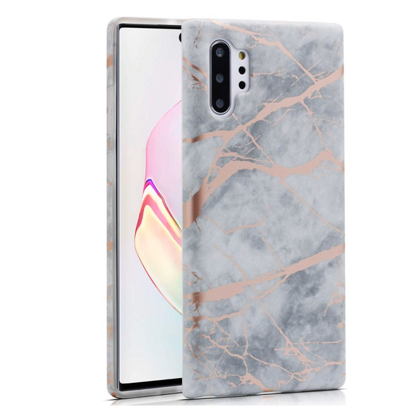 White Marble Rose Gold Chrome Samsung Case  - CASES A LA MODE