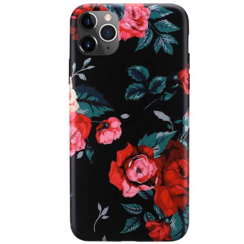 Red Floral Black iPhone Case  - CASES A LA MODE