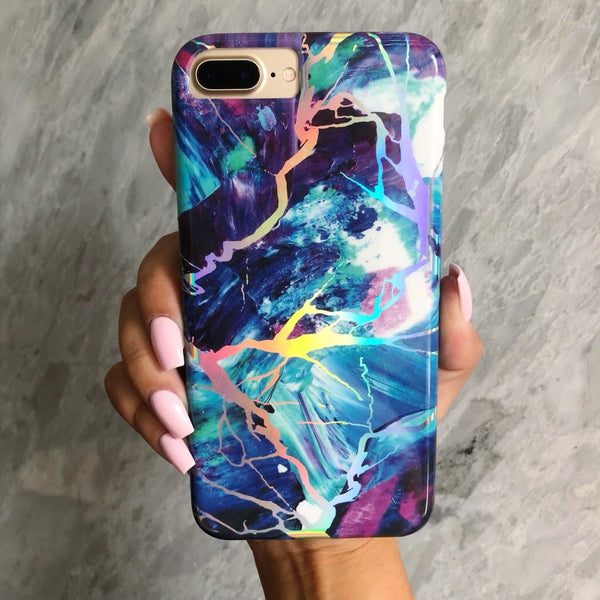 Majestic Holo Marble iPhone Case  - CASES A LA MODE