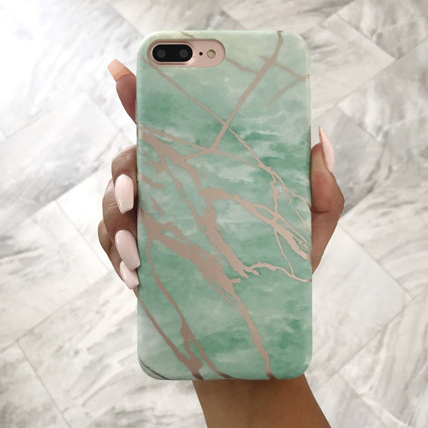 Mint and Rose Gold Marble Phone Case  - CASES A LA MODE
