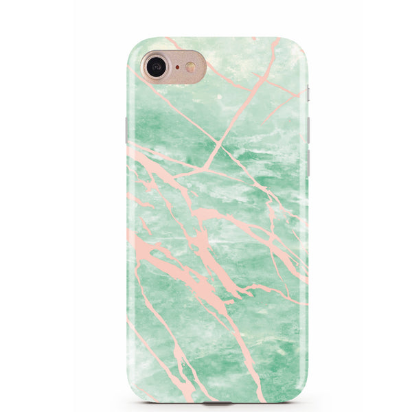 Mint and Rose Gold Marble Phone Case IPHONE 7 - CASES A LA MODE