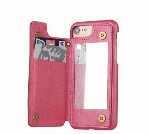 Hot Pink Retro Mirror Wallet iPhone Case  - CASES A LA MODE