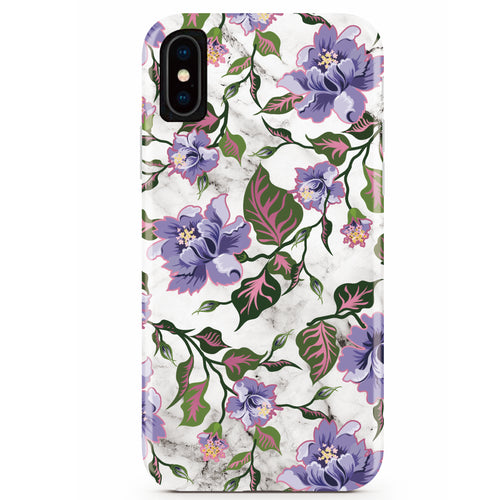 Purple Floral Marble iPhone Case IPHONE X/XS - CASES A LA MODE