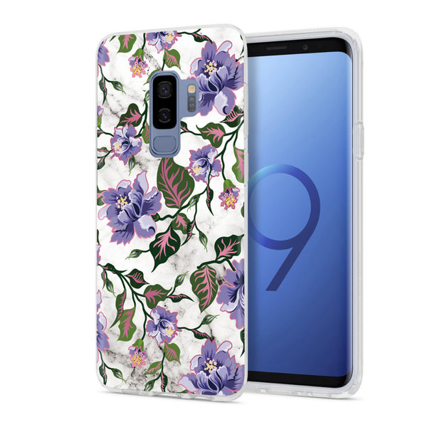new arrival 88b2a 87a1e Purple Floral Marble Samsung Phone Case