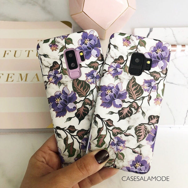 Purple Floral Marble Samsung Phone Case  - CASES A LA MODE