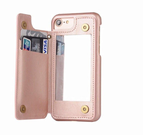 Rose Gold Retro Mirror Wallet iPhone Case  - CASES A LA MODE