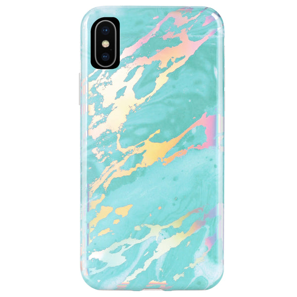 Turquoise Holo Marble Phone Case  - CASES A LA MODE