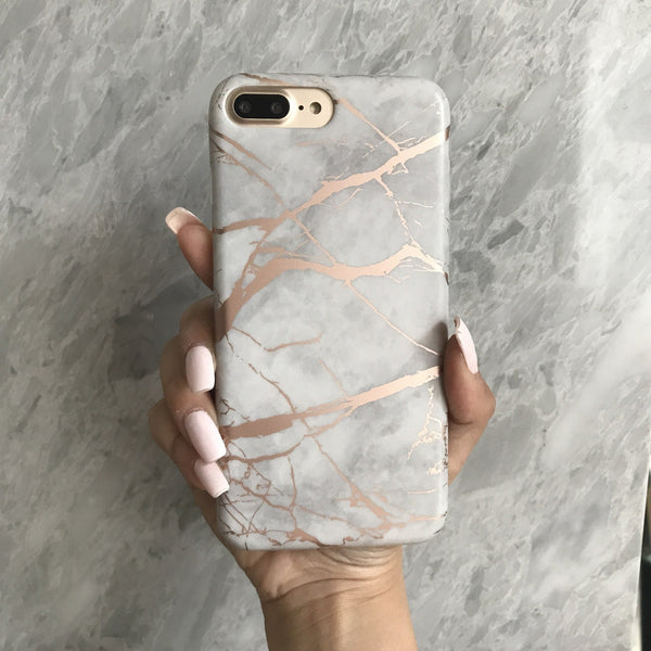 White Marble Rose Gold Chrome iPhone Case  - CASES A LA MODE