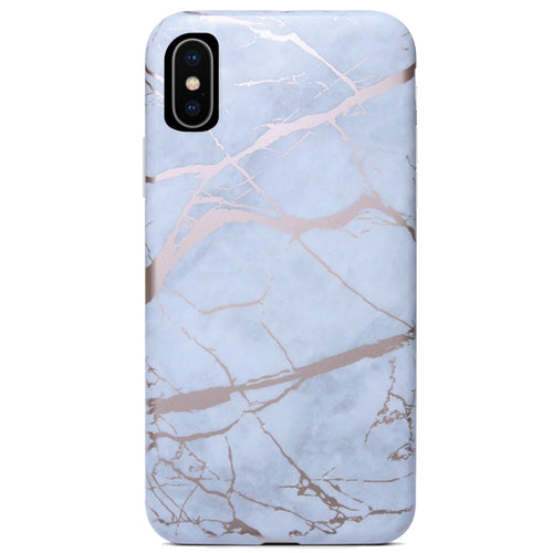 White Marble Rose Gold Chrome iPhone Case IPHONE XR - CASES A LA MODE