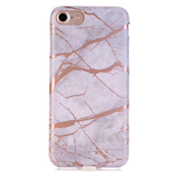 White Marble Rose Gold Chrome iPhone Case IPHONE 7 - CASES A LA MODE