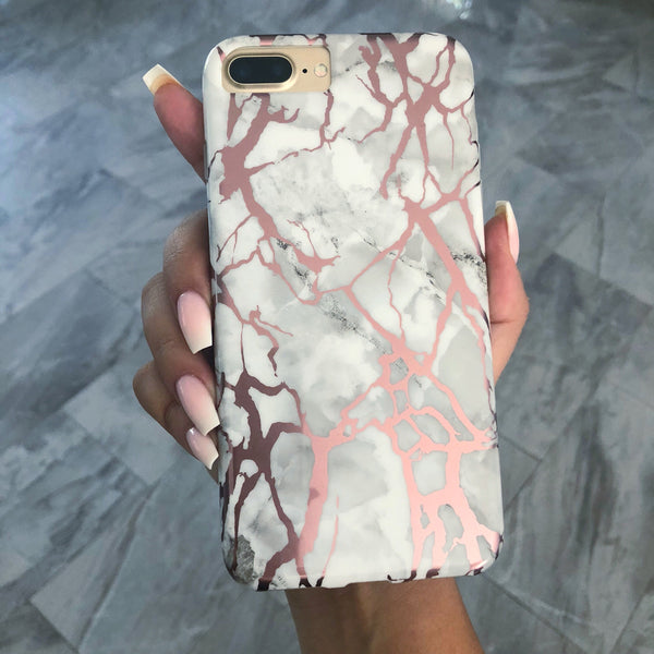 White Marble Rose Gold Pink iPhone Case  - CASES A LA MODE