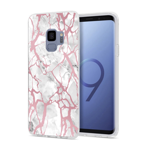 White Marble Rose Gold Pink Samsung Case GALAXY S9- FINAL SALE - CASES A LA MODE