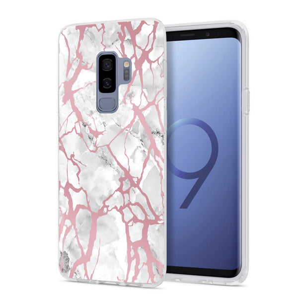 White Marble Rose Gold Pink Samsung Case GALAXY S9 PLUS - CASES A LA MODE