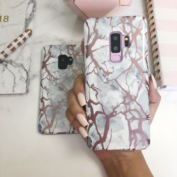White And Rose Gold Pink Chrome Marble Case Samsung Galaxy