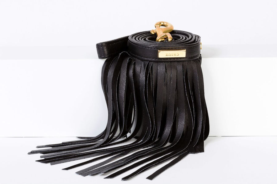 FRINGE LEASH IN BLACK LEATHER