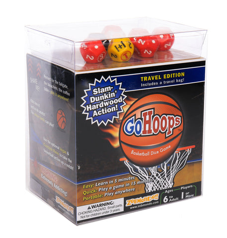ZobMondo!! GoHoops Basketball Dice Game | Great Gift for Basketball Fans, Families and Kids | Play at Home or for Travel
