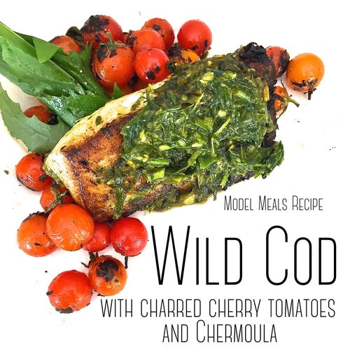 Cod with cherry tomatoes and chermoula