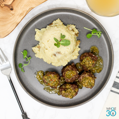 Whole30 Approved Chimichurri Beef Meatballs with Sweet Potato Mash