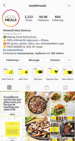 Model Meals, Whole30 Meal Delivery, Instagram Profile