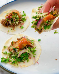 "Model Meals' Famous Tacos on Celery Root ""Tortilla"""