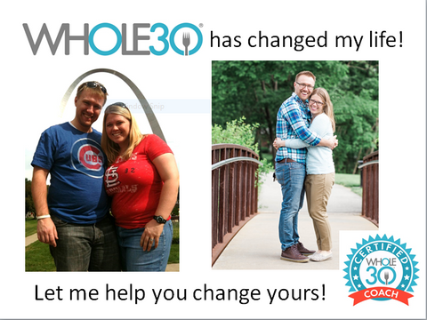 Whole30 Certified Coach, Kelly Warner, before and after Whole30 and an 80 pound weightloss
