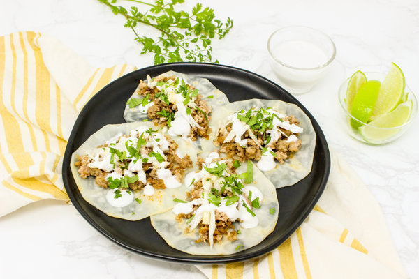 Whole30 Recipe | Chicken Tacos on Celery Root Tortilla with Lime Crema