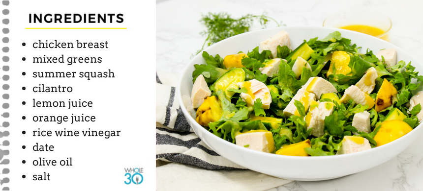 Model Meals | Chicken and Summer Squash Salad with Citrus Vinaigrette