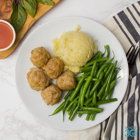 pasture-raised buffalo chicken meatballs + herbed root mash and green beans