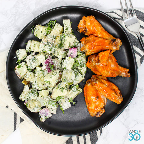 buffalo chicken wings + dill potato salad with house pickles