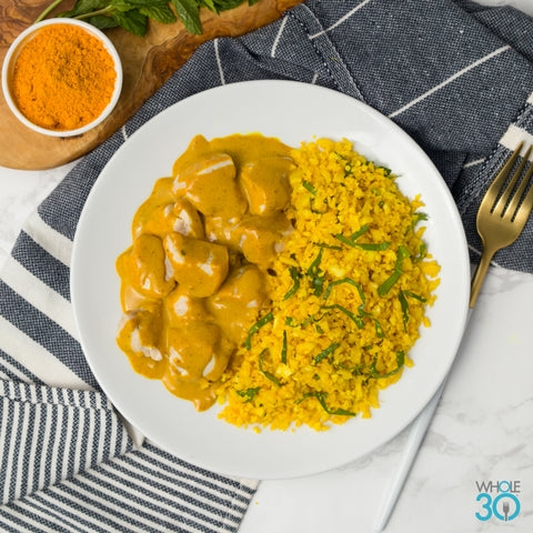 "pasture-raised ""butter"" chicken with turmeric sweet potato ""rice"""