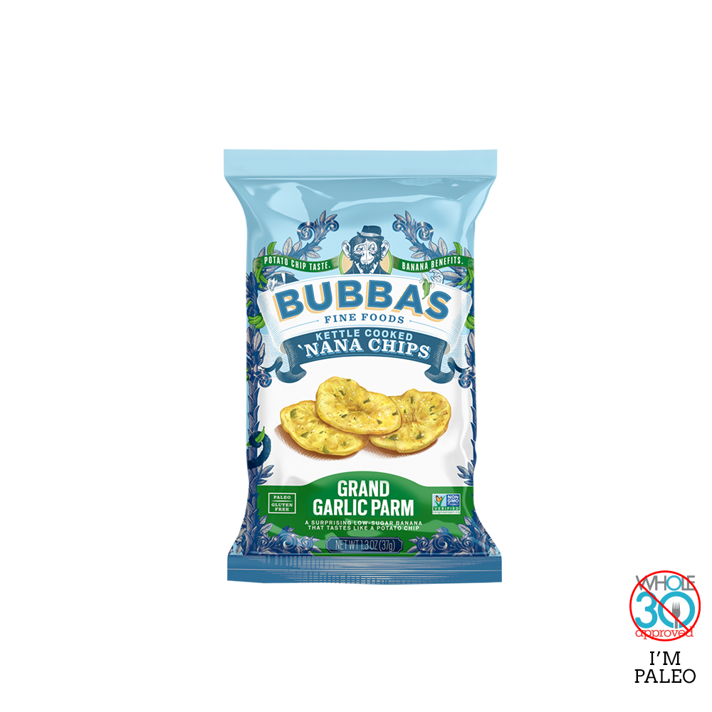 bubba's fine foods: grand garlic parm 'nana chips