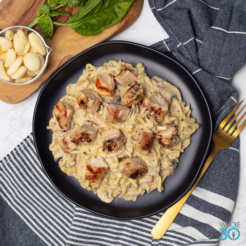 pasture-raised chicken mushroom alfredo with celery root noodles