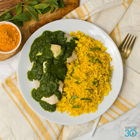"pasture-raised chicken + saag with turmeric cauliflower ""rice"""