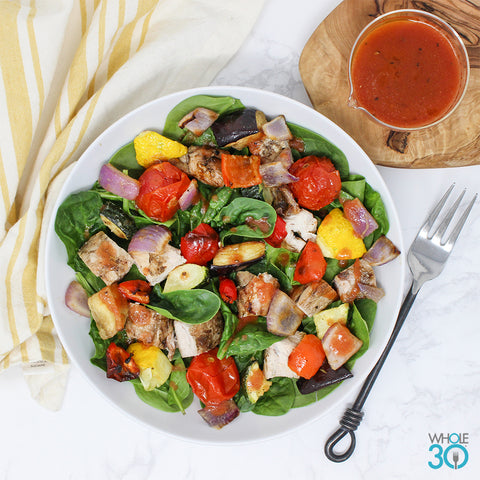 pasture-raised chicken and roasted vegetable salad with tomato vinaigrette